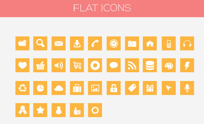 Flat Icon Set PSD