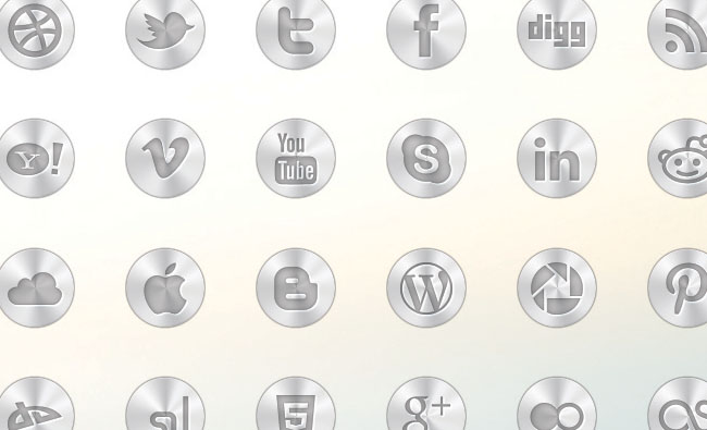 Free Metal Social Media Icon Set