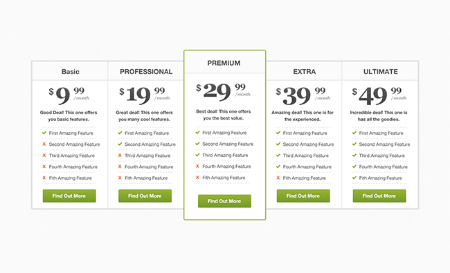 Free Pricing Table PSD Layout